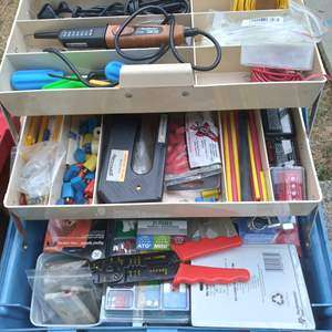 Lot # 84 - Electrical Compartment Craftsman Tool Box with Craftsman Cresent Wrenches and more
