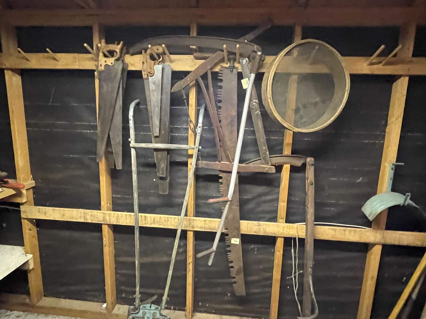 Lot # 91 - Lot of Antique and Old Tools - Scythes, Saws, Tiller and Various Garden Tools (main image)