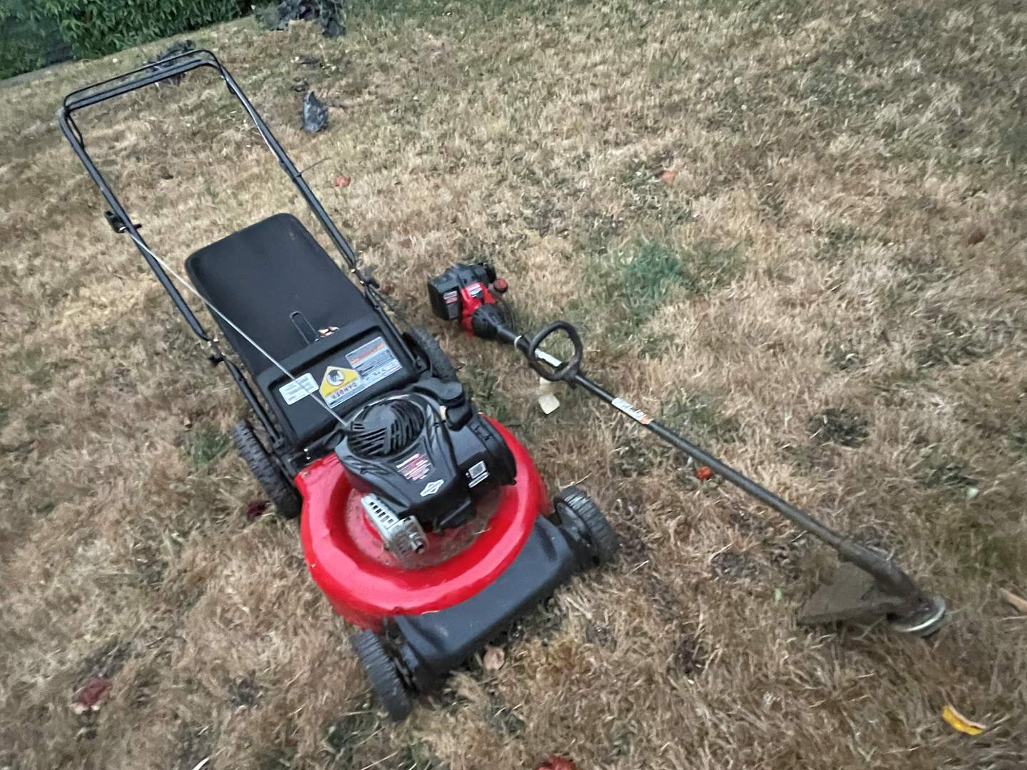 Lot # 92 - Lawnmower and Weedwhacker  (main image)