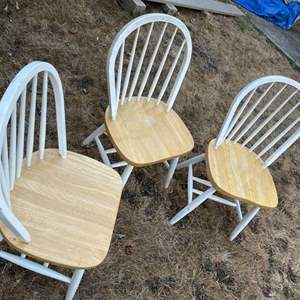Lot # 15 - 3 White and Wood Windsor Chairs