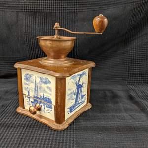 Lot # 22 - Vintage Copper and Ceramic Tile Box Coffee Grinder