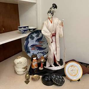 Lot # 26 - Geisha Doll and Lot of Asian Collectibles