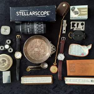 Lot # 37 - Junk Drawer Lot (Watches, Lighter, Compass, Titanic Replica Shaving Container, Antique Silver Plate Bowl, more)