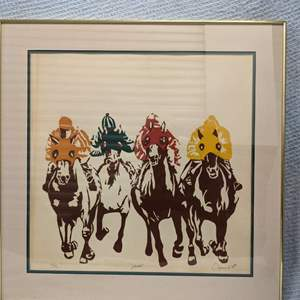 """Lot # 52 Signed and Numbered LongAcres Horse Race titled """"Ponies"""" 1976"""
