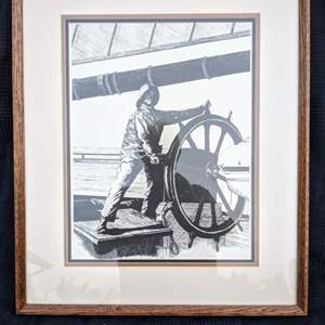 """Lot # 54 - Signed and Numbered """"Keepin' Er Course"""" T. R. Duke 1978 Ink Drawing of Helmsman"""