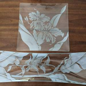 Lot # 55 - Two (2) Vern's Glass Long Sand-etched Clear Platters