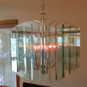 Lot # 56 Twenty (20) Beveled Glass Panes Hanging Dining Room Light