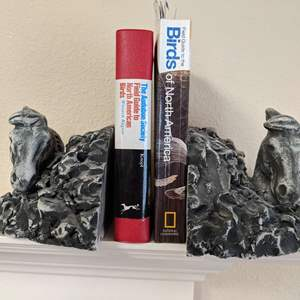 """Lot # 57 Signed """"Stan""""Langtwait Sculptured Horsehead Bookends from Cascade Clay and Mt St. Helens Ash"""