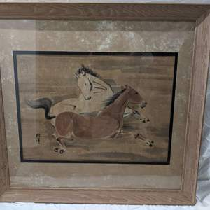 Lot # 59 Framed Asian Watercolor Painting of Two Horses