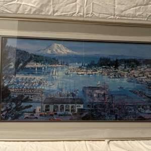 Lot # 63 - Marshall Johnson Print of Scene from Gig Harbor with Mt. Rainier Backdrop 1999