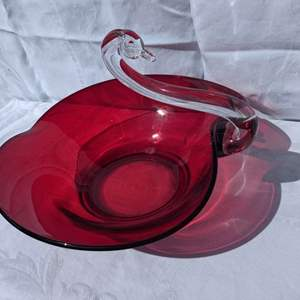 Lot # 69 - Vintage DUNCAN and MILLER Crystal Ruby Red Swan Large Centerpiece