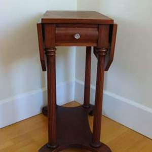 Lot # 100 - Vintage Drop-leaf End Table with Single Glass-pull Drawer