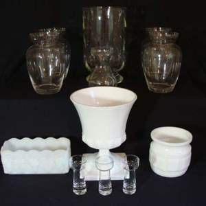 Lot # 105 - Milk Glass containers and Other Vases