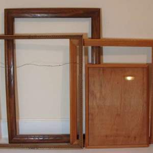 Lot # 111 - Four (4) Large Wood Frames - One Gold-tone