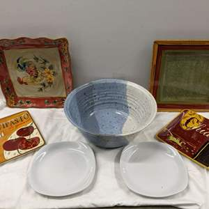 Lot # 139 - Serving Bowl and Many Small Platters