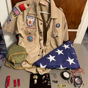 Lot # 147 - Vintage Boy Scout Lot and Folded American Flag