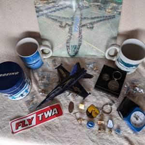 Lot # 149 Boeing Memorabilia Mugs, Pins, Tin and F-18 Hornet