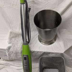 Lot # 164 - Shark Steam Cleaner, Square Wastebasket and Stainless Steel Bucket