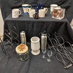 Lot # 173 - Cat Mugs, Wine Racks and More