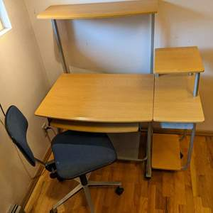Lot # 180 - Rolling Modern Office Computer Desk and  Adjustable Chair