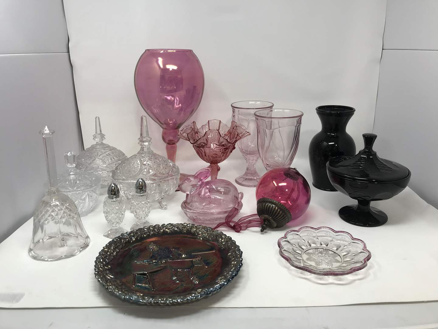 Lot # 21 - Clear & Pink Toned Glass Vases, Candy Dishes, Avon Collectors Plate (main image)