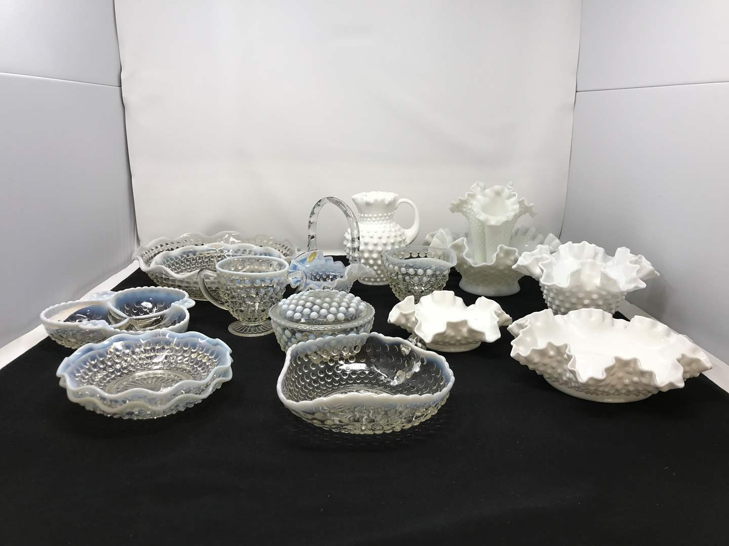 Lot # 22 - Lot of Hobnail Glass Items & 3 Fenton Pieces  (main image)