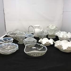Lot # 22 - Lot of Hobnail Glass Items & 3 Fenton Pieces