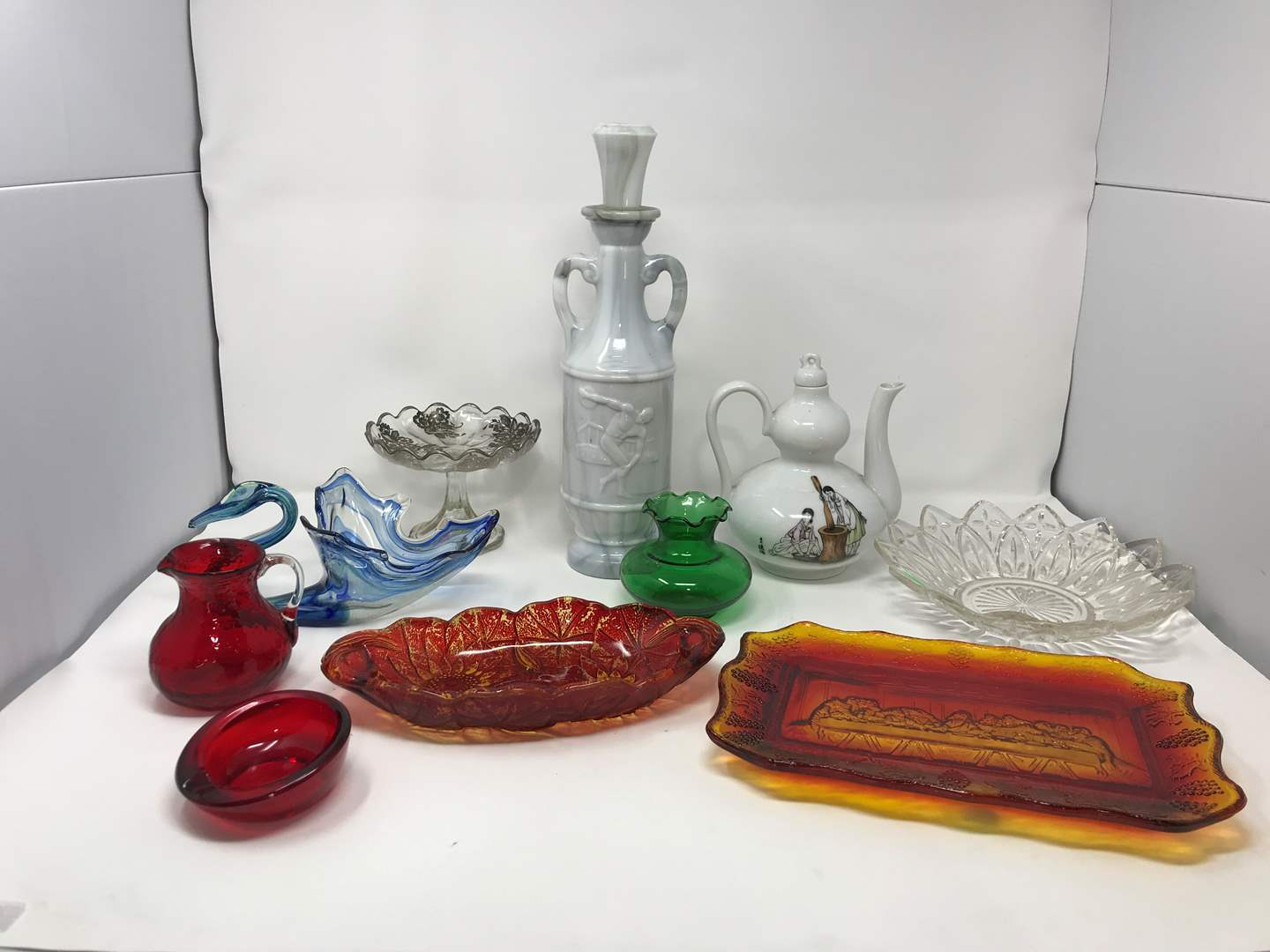 Lot # 28 - Lot of Misc. Glass Items Decanter, Teapot & More (main image)