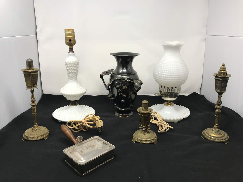 Lot # 29 - 2 Vintage Lamps, Pewter Vase & More (main image)