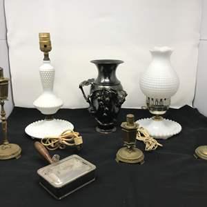 Lot # 29 - 2 Vintage Lamps, Pewter Vase & More
