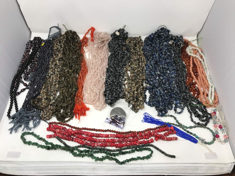 Lot # 30 - Huge Lot of stone Beads: Rose Quartz, Labradorite, Snowflake Obsidian, Iolite & Some Plastic Beads (main image)