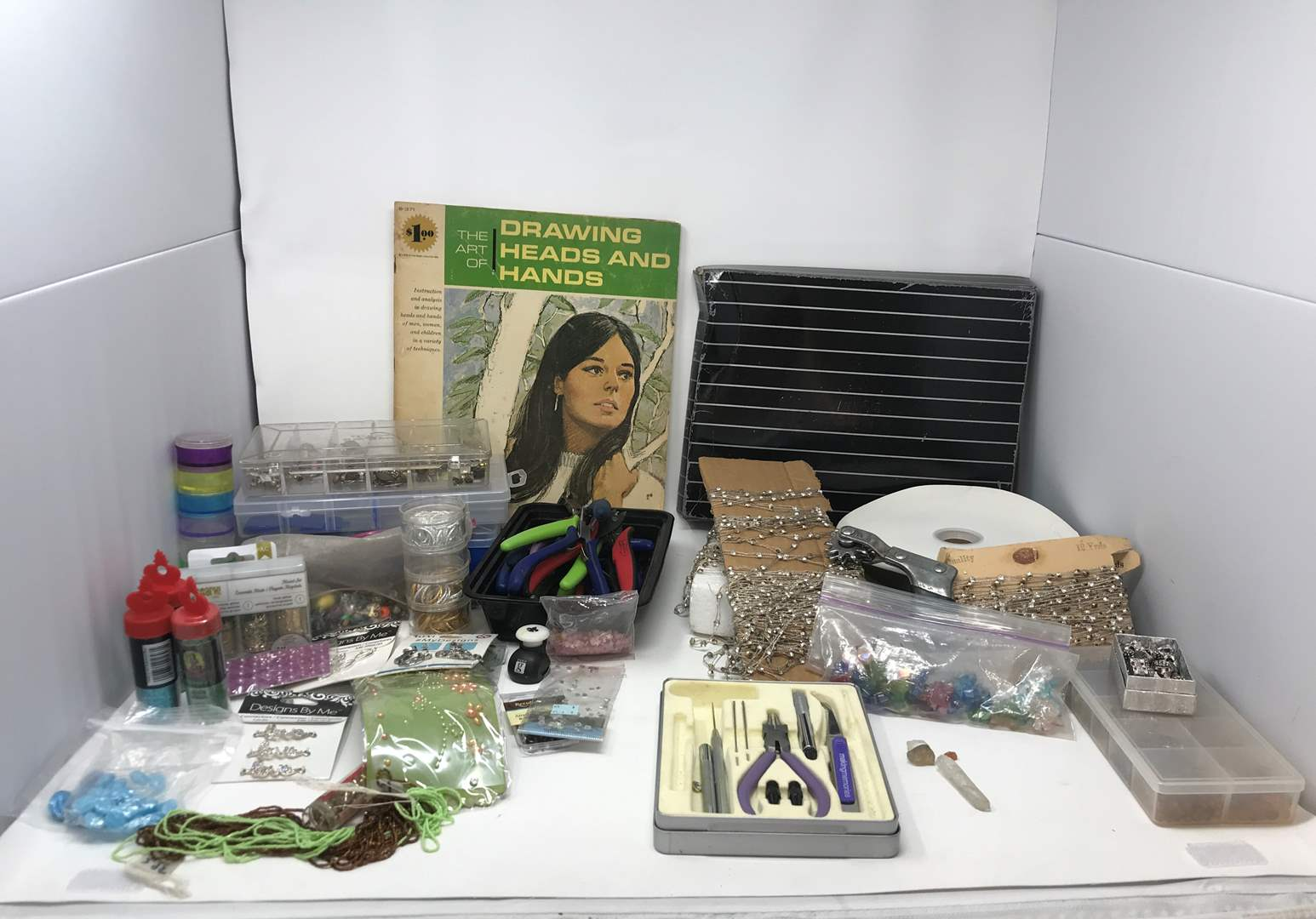 Lot # 32 - Lot of Beads, Charms, Various Sizes of Needle Nose Plyers, Glitter & More (main image)