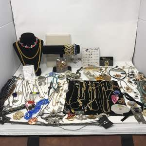 Lot # 34 - Lot of Costume Jewelry, Selection of Necklaces Stamped Gold Plated & Jewelry Stands