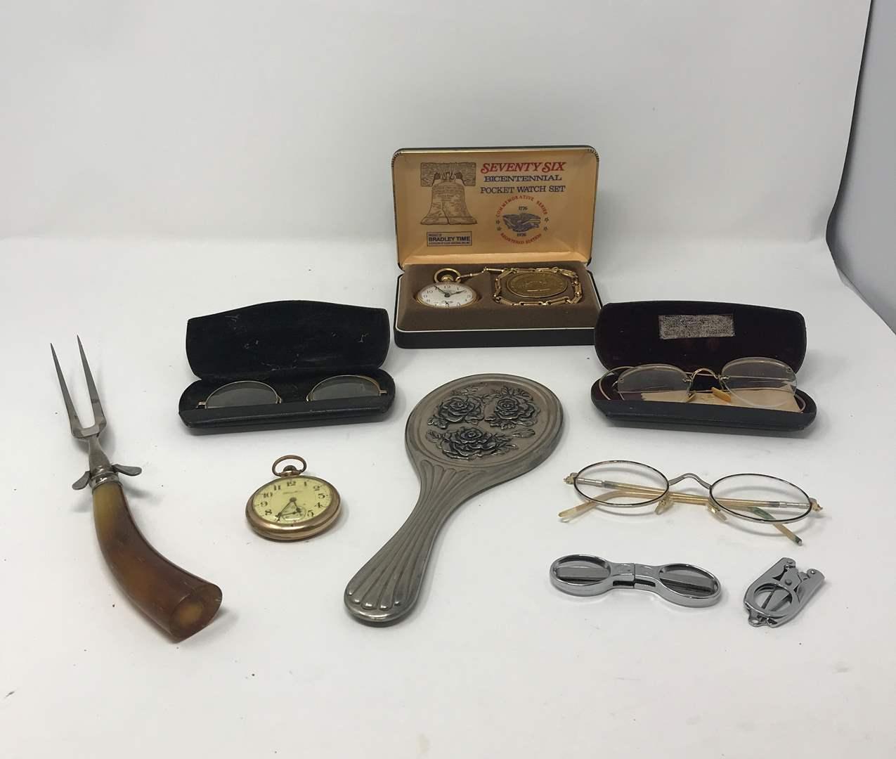 Lot # 35 - Vintage Glasses (Stamped 14k GF), Pocket Watch & More (main image)
