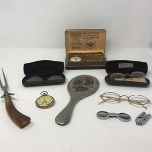 Lot # 35 - Vintage Glasses (Stamped 14k GF), Pocket Watch & More