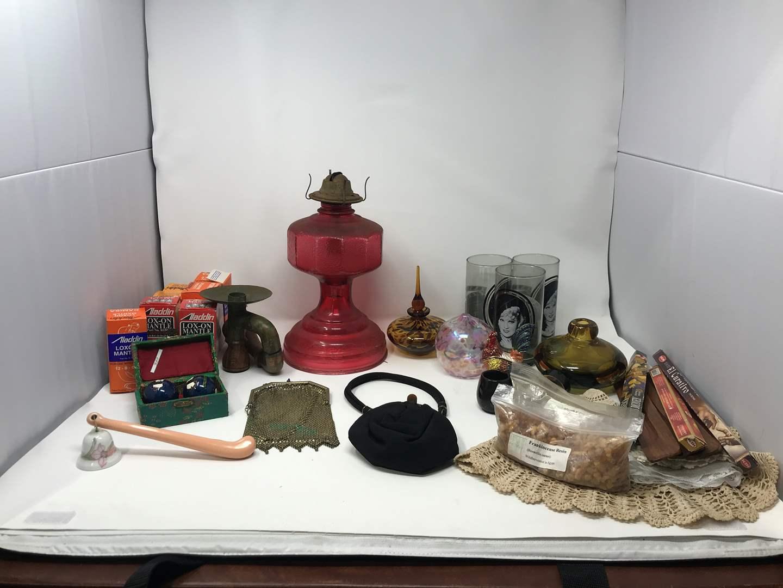Lot # 39 - Oil Lamp Base, Vintage Purses, Incense Holders, Wicks & More  (main image)