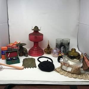Lot # 39 - Oil Lamp Base, Vintage Purses, Incense Holders, Wicks & More