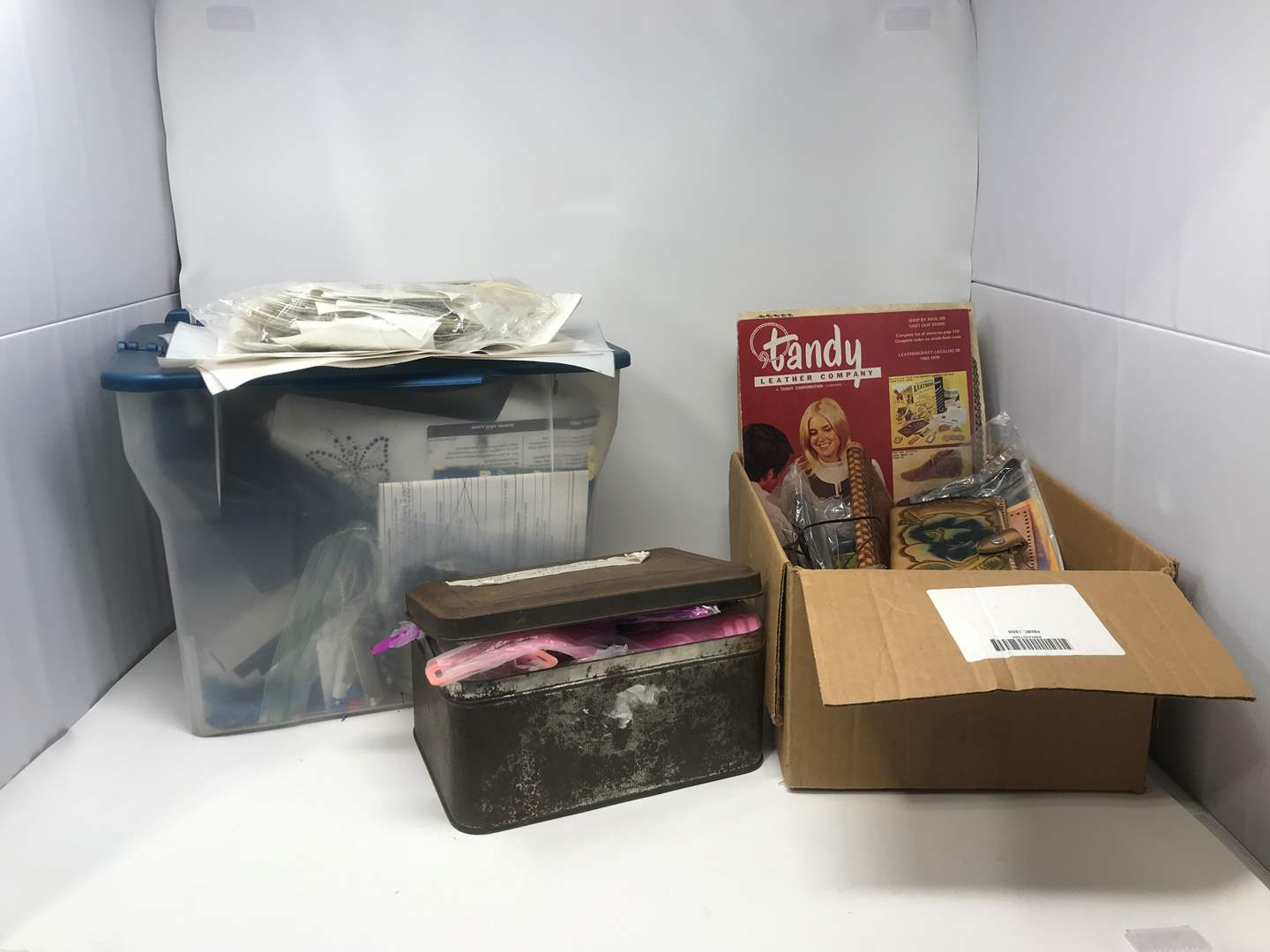 Lot # 40 - Box of Thangels, Leather Crafting Items, Tin Full of Watches & More (main image)