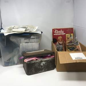 Lot # 40 - Box of Thangels, Leather Crafting Items, Tin Full of Watches & More