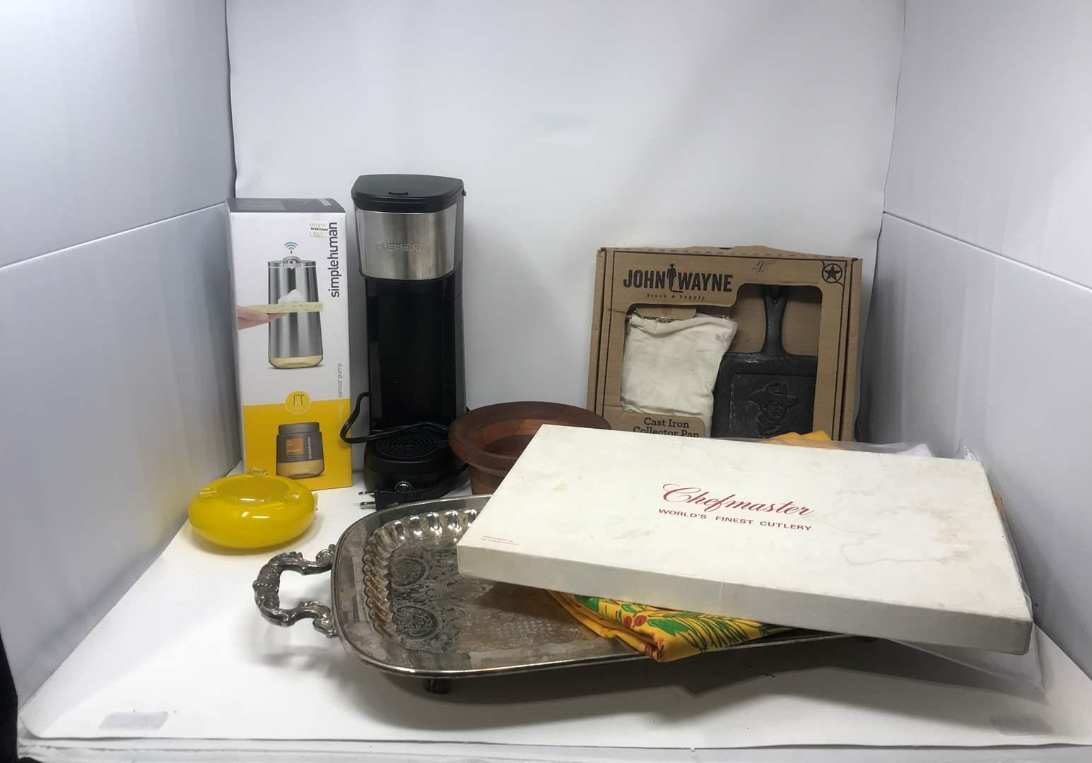 Lot # 101 - Simple Human Sensor Soap Dispenser, John Wane Cast Iron Skillet, Chefman Coffee Dispenser & More (main image)