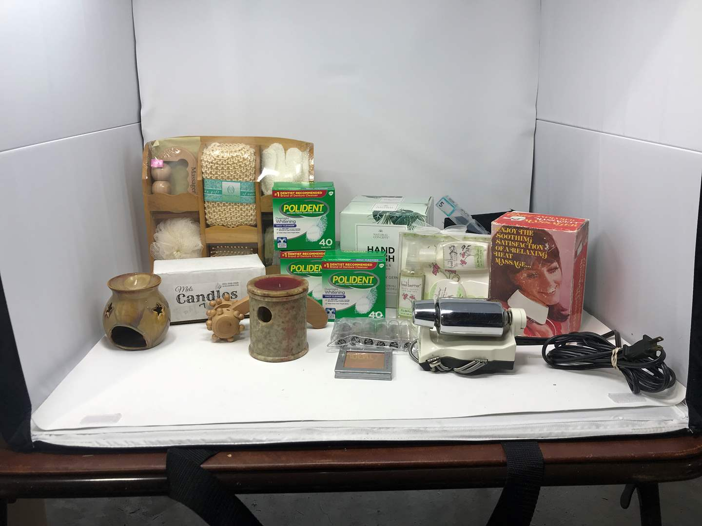 Lot # 103 - New Bath Set, Candles, Polident & More  (main image)