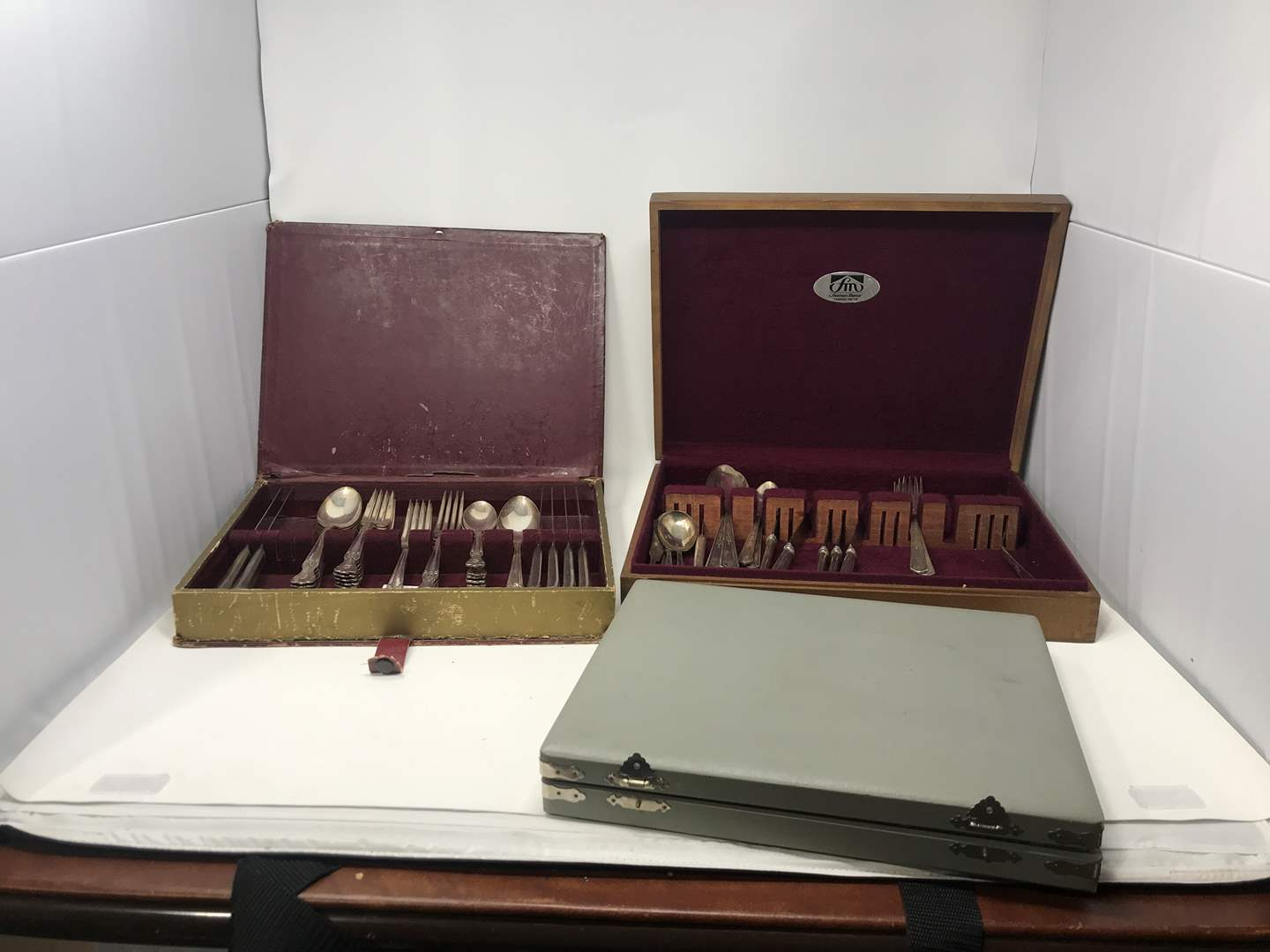 Lot # 104 - Silver Plated Flatware & Stainless Steak Knifes (main image)