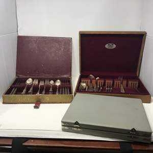 Lot # 104 - Silver Plated Flatware & Stainless Steak Knifes