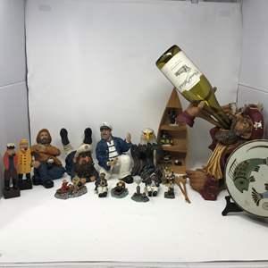 Lot # 107 - Sailor Figurines, Wine Bottle Décor & More