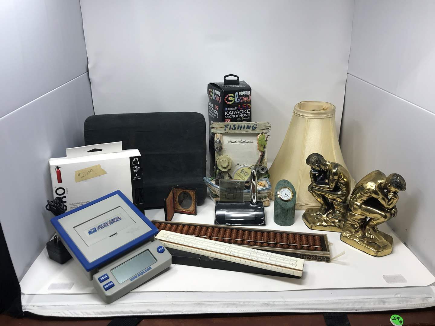 Lot # 110 - Tablet Stand, Lampshade, Bookends, Fishing Picture Frame & More (main image)
