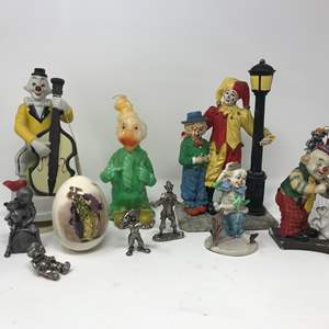 Lot # 112 - Clown Candle, Figurines, Small Pewter Girl & Bear