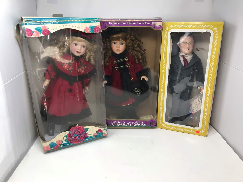 Lot # 118 - 2 Porcelain Dolls & F.D.R. Doll (main image)