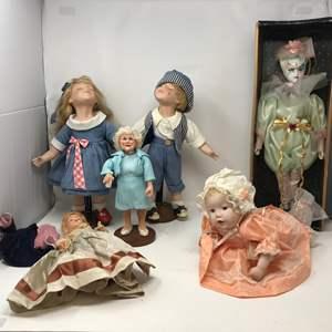 Lot # 119 - 3 Porcelain Dolls & More
