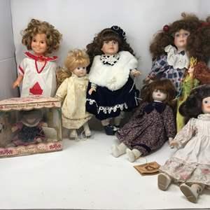 Lot # 120 - Lot of Porcelain Dolls & One Barbie