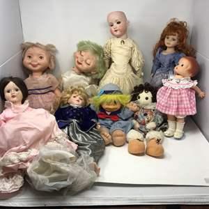 Lot # 151 -  Lot of Porcelain & Plastic Dolls